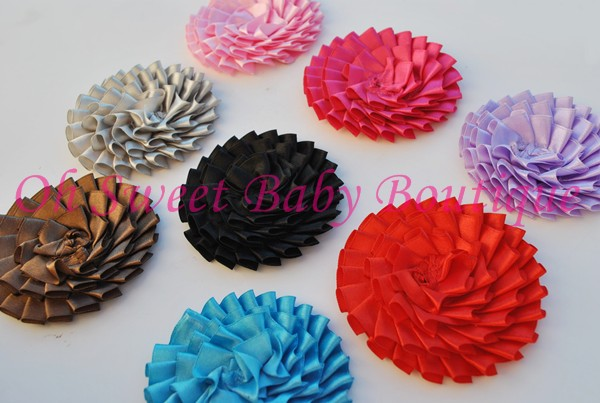 "3"" Pleated Satin Flower-"