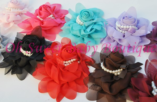 Chiffon Rosette w/Pearls-Chiffon, pearl, rose, rosette, wholesale, pink, hot pink, aqua, lavender, gray