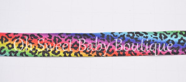Neon Cheetah Fold Over Elastic-