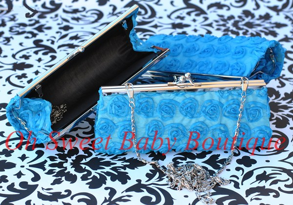 Rosette Clutch Turquoise-