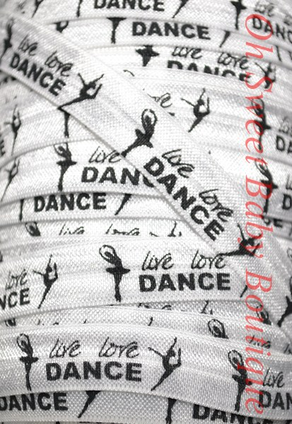 Live Love Dance Fold Over Elastic-wholesale, printed, fold, over, elastic, foe, binding, hairbands, hair ties, emyjay, trendy, prints, diaper, rolls, bulk, spools, gymnastics, dance