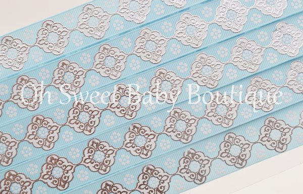 Alice Blue and White Vintage Damask-