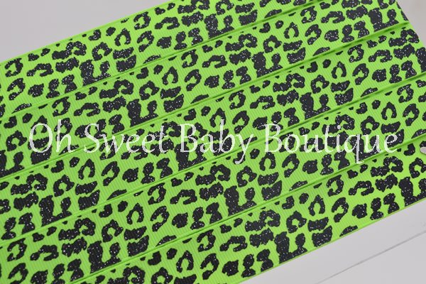 Acid Green and Black Glitter Leopard-