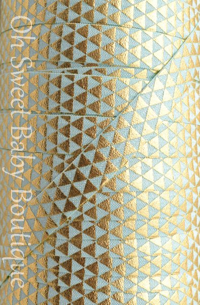 Geometric Triangle Aqua Gold Foil-