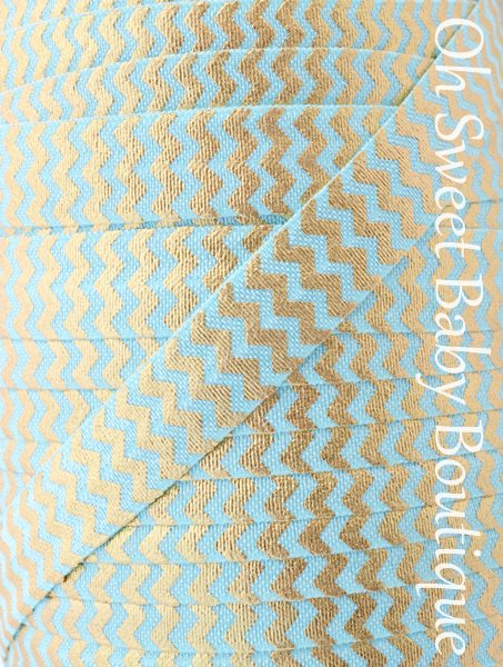 Foil Chevron Aqua Gold-