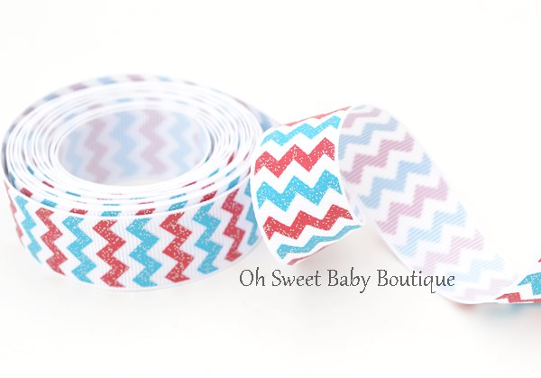 Red Aqua Glitter Chevron-