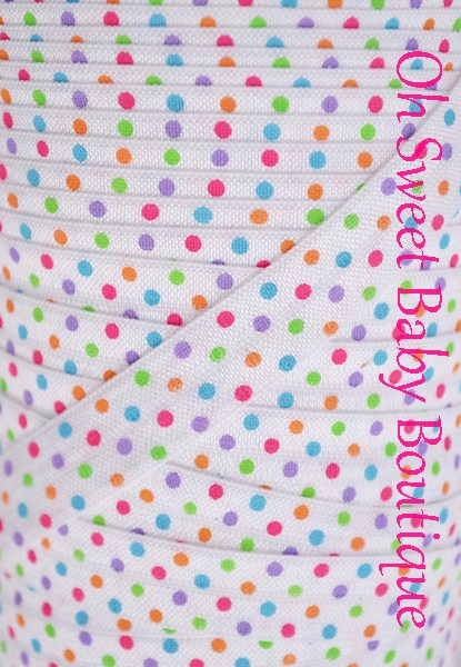 Bright Polka Dot Fold Over Elastic-