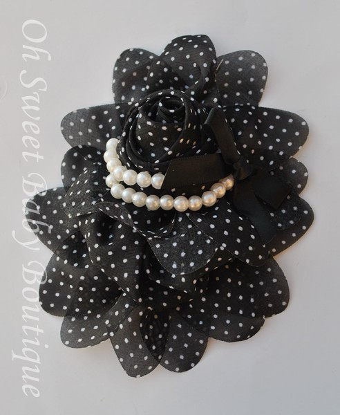 Black / White Chiffon Pearl-