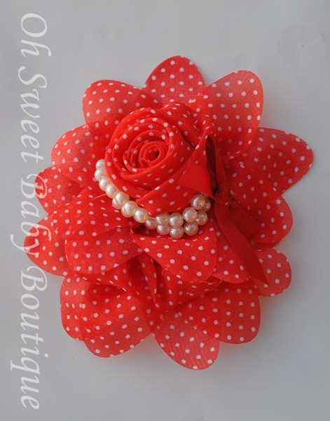 Red / White Chiffon Pearl-