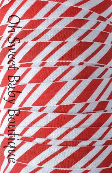 Candy Cane FOE-candy, cane, foe, fold, over, elastic, wholesale, roll, bulk, printed, diaper, baby, bands, headbands
