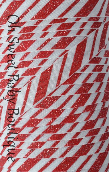 Glitter Candy Cane FOE-glitter, fold over elastic, foe, elastic, candy cane, holiday