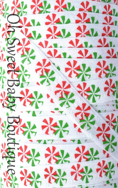 Peppermint Christmas FOE-peppermint, christmas, candy cane, holiday, elastics, fold over elastic, prints, wholesale