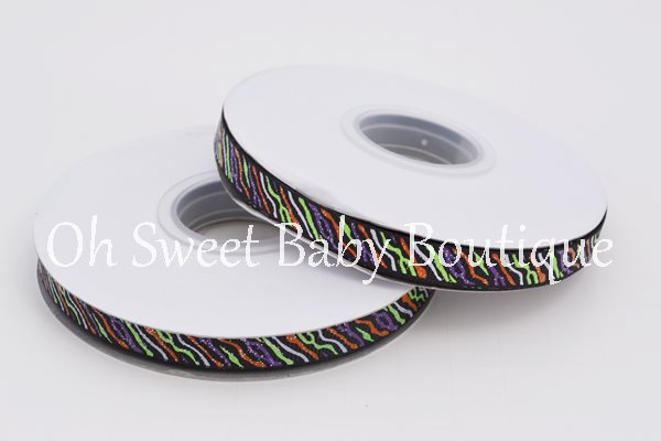"3/8"" Halloween Glitter Zebra Ribbon-"