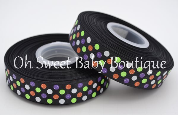 Halloween Glitter Polka Dot Ribbon-