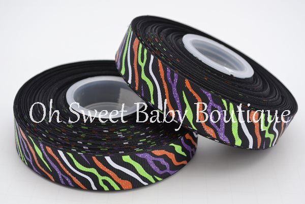 Halloween Glitter Zebra Ribbon-