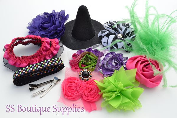 """Hot Pink Witch Hat and Headband Kit 4""""-"""