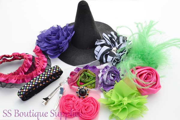 """Hot Pink Witch Hat and Headband Kit 6""""-"""