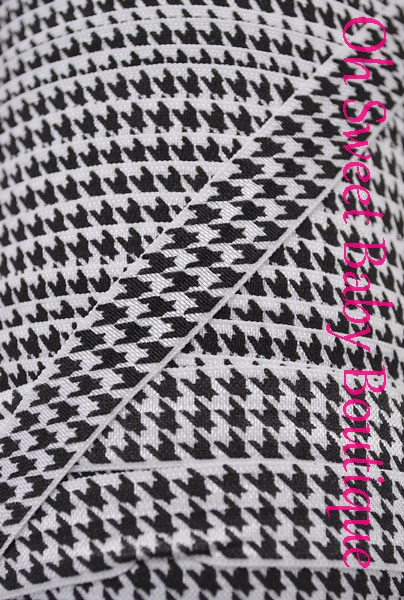 Houndstooth Fold Over Elastic-
