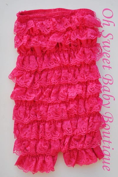 Hot Pink Lace Romper-