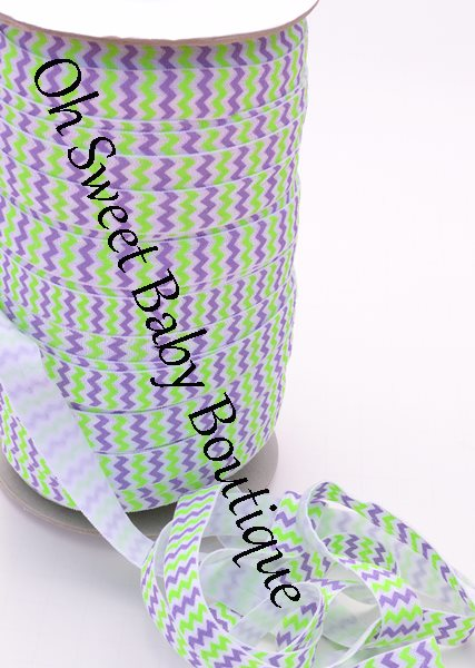Neon Lime and Grape Chevron-wholesale, printed, fold, over, elastic, foe, binding, hairbands, hair ties, emyjay, trendy, prints, diaper, rolls, bulk, spools, halloween, chevron