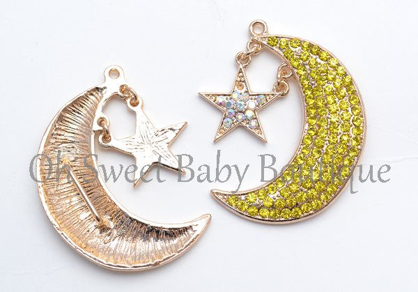 Over The Moon Rhinestone Slider / Pendant-