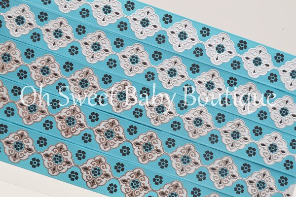 Misty Turquoise and Black Vintage Damask-