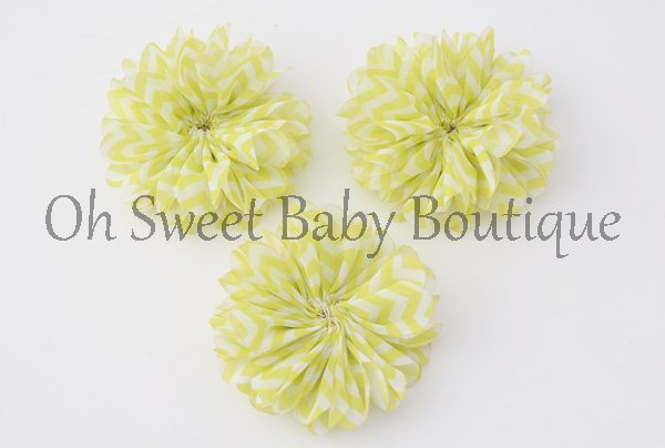 Neon Yellow Chevron Petal Flowers-