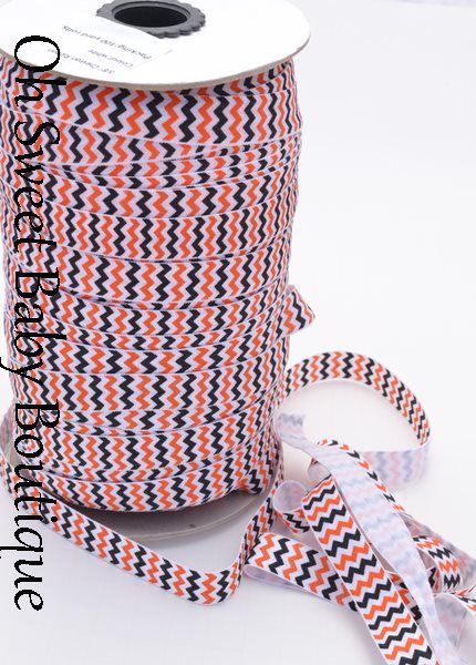 Orange Black Chevron Fold Over Elastic-wholesale, printed, fold, over, elastic, foe, binding, hairbands, hair ties, emyjay, trendy, prints, diaper, rolls, bulk, spools, halloween, chevron, black, orange