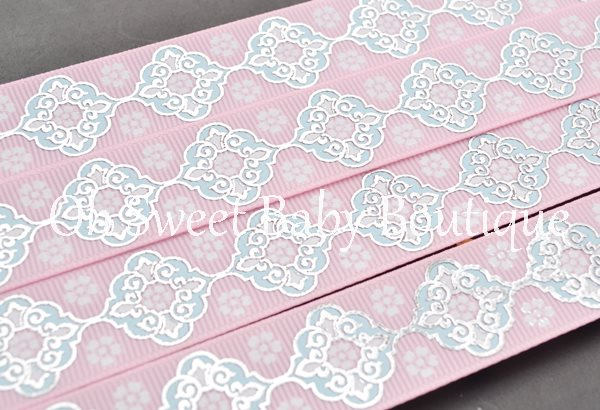 Vintage Damask Pearl Pink/ Alice Blue/ White-