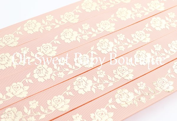 Peach Gold Foil Vintage Rose-