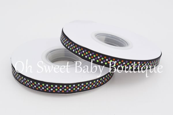 "3/8"" Halloween Glitter Polka Dot Ribbon-"