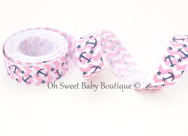 Chevron and Anchors Pink / Navy-