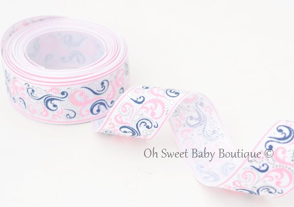 Patriotic Swirls Pink Navy-