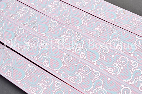 Fancy Swirls Pearl Pink/ Alice Blue-