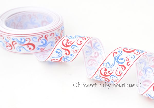 Patriotic Swirls Red Blue-