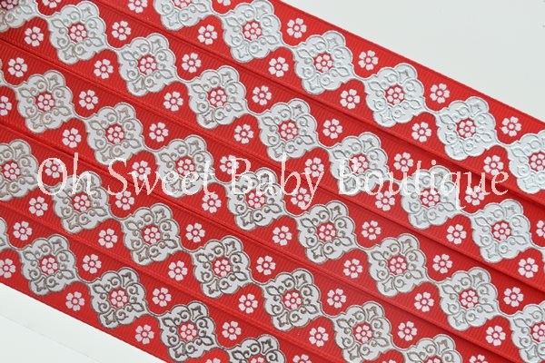 Red and White Vintage Damask-