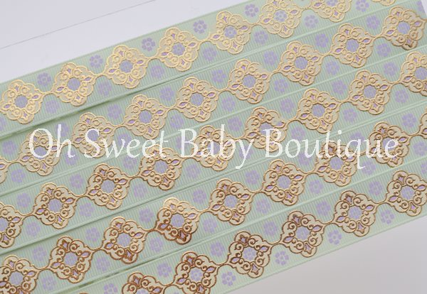 Seafoam and Lavender Vintage Damask-