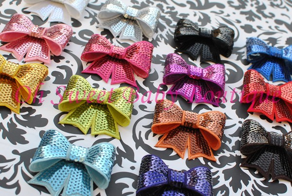 3 Inch Sequin Bow Fancy-