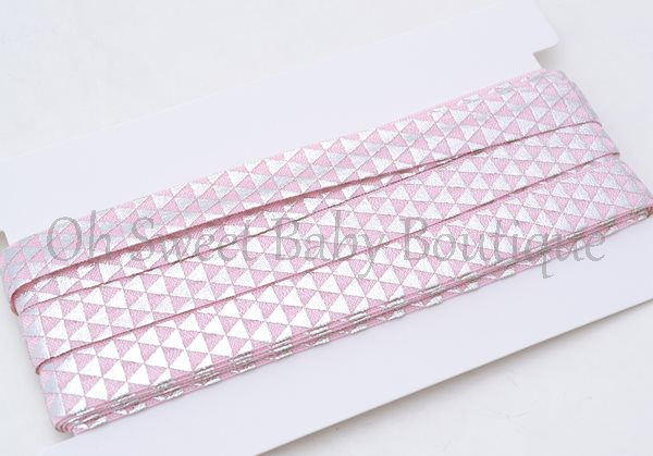 Geomtric Triangle Pink Silver Foil-
