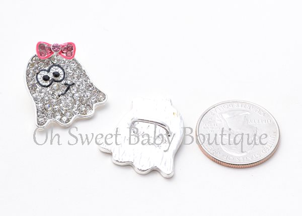 Cute Ghost Slider-slider, embellishment, bling, rhinestone, bow, center, headband, flower, autumn, leaf, leaves, fall, halloween, ghost