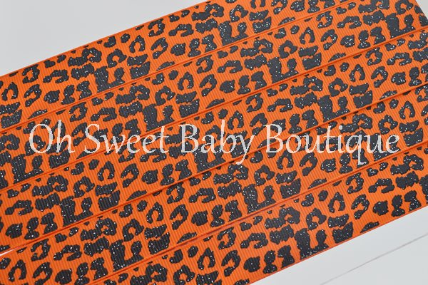 Tangerine and Black Glitter Leopard-